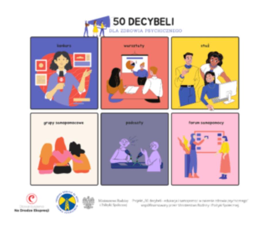 """Weź udział w projekcie """"50 decybeli – edukacja i samopomoc w zakresie zdrowia psychicznego"""""""